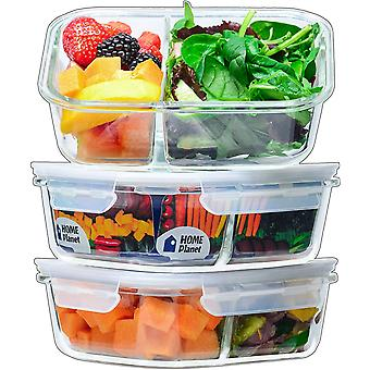 Home Planet Glass Meal Prep Containers 2 Compartment | Glass Lunchbox | 3 Pack 1050ml |