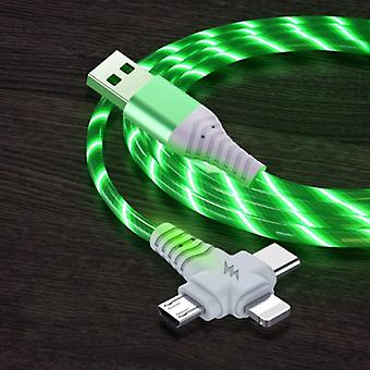 Ilano 3 in 1 Luminous Charging Cable - iPhone Lightning / USB-C / Micro-USB - 1 Meter Charger Data Cable Green