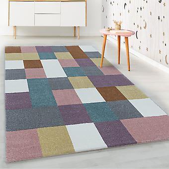 Shortflor alfombra infantil azulejos coloridos diseño alfombra infantil suave multicolor