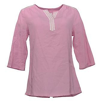 Denim & Co. Donne 's Top Lace Trimmed Gauze Pink A352971