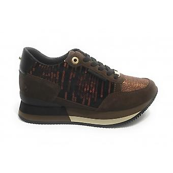 Running Sneaker Apepazza Rebecca Fondo Zeppa In Suede Brown Woman D21ap04