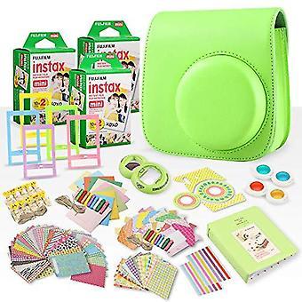 Fujifilm instax mini película instantánea + fujifilm instax lime green paquete accesorio de 168 piezas con caja de cámara, lente selfie, álbum de fotos, ps70919