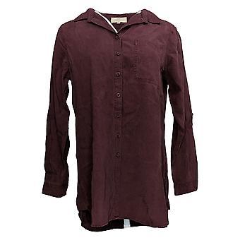 Side Stitch Women's Top Regular Button Front Tunic W/ Pocket Purple A375105