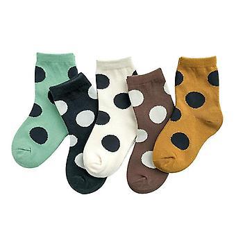 Confezione da 5 paia Autunno e Inverno Big Polka Dot Cotton Sock