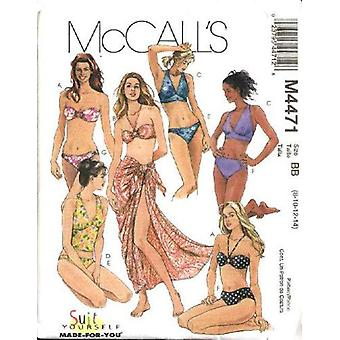 מק'קולס תפירה תבנית 4471 מפספס שני חלקים בגדי ים בגדי ים סארונג גודל 6-12