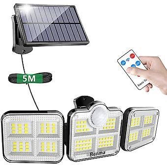 HanFei Solarlampen fr Auen mit Bewegungssensor, 122 LED Solarleuchten mit Fernbedienung, 360 Drehbar