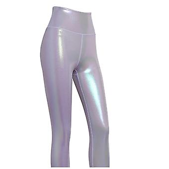 Vrouwen glanzende sport leggings, high rise stretchy fitness yoga panty's