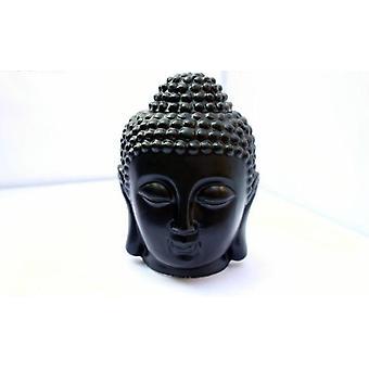 Keramisk rolig buddha hoved aromatisk olie røgelse brænder