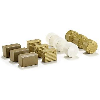 HanFei 2463, Ballensortiment, 1:32, Kunststoff, Gold/Wei, 3 x 4 verschiedene Variationen