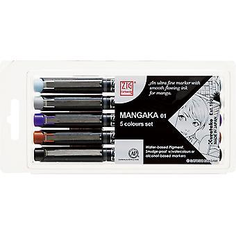 Kuretake Zig Cartoonist Mangaka - Set of 5 Pens