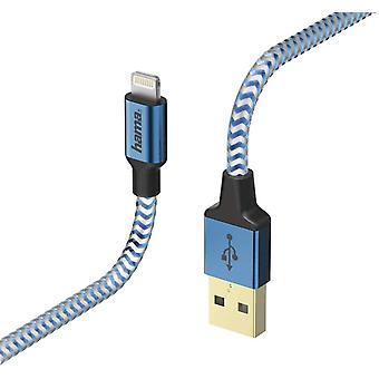 """Hama """"Reflekterande"""" Laddning/Datakabel, Blixt, 1,5 m, blå"""