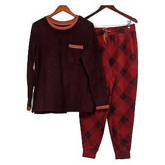 Cuddl Duds Women's Pajama Set Pullover & Joggers Red A381825