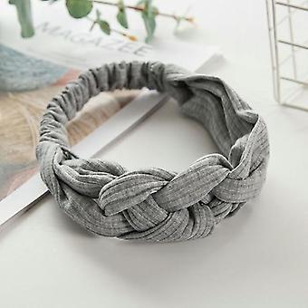 Nuevas diademas de nudo de tejido solid cross mujeres elasitc hairbands