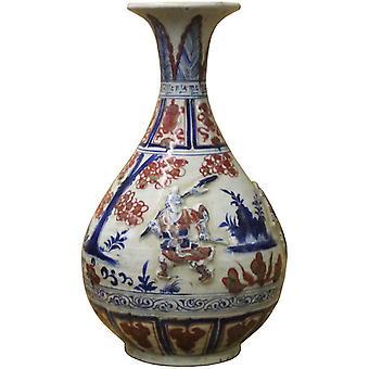Handmade Ceramic Red Blue White Dimensional People Vase