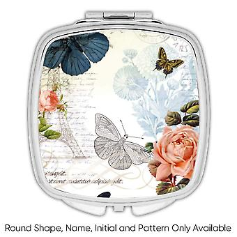 Gift Compact Mirror: Morpho Butterfly Pattern