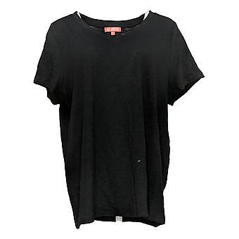 All Worthy Hunter McGrady Women's Plus Top V-Neck Tee Shirt Black A391906