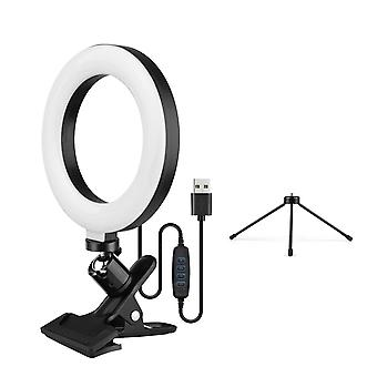 6.3 Inch 2700k-5500k selfie ring video light with clamp mount tabletop tripod 3 dimmable