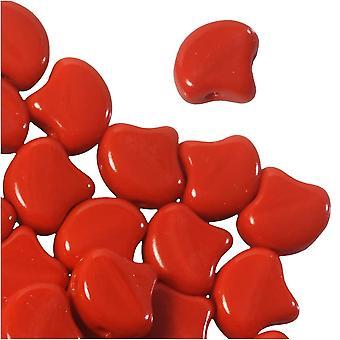 Tšekki lasi, 2-reikäinen Ginko Äkit 7,5mm, 10 grammaa, punainen läpinäkymätön