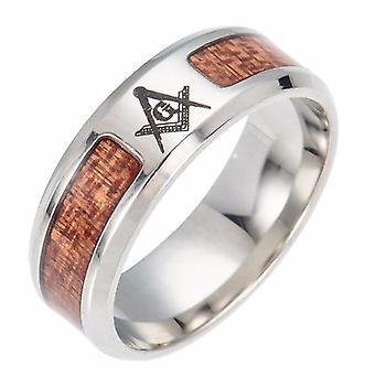 Le baiser wood texture masonic ring
