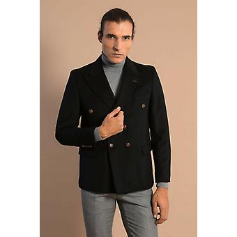 Mens double breasted slim fit black blazer