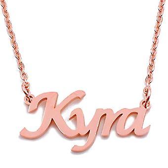 "L KYRA - Halskette mit individuellem Namen, vergoldet 18 Karat Roségold, verstellbare Kette 16""- 19"