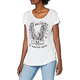 True Religion Crew Relax Camiseta Águila Camiseta, Blanco, XS Mujer