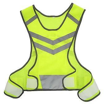 屋外スポーツランニング反射ベスト調節可能な軽量メッシュ安全装置(女性男性ジョギングサイクリング用)