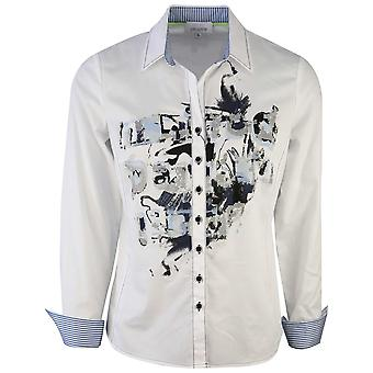 Just White White Long Sleeve Printed Shirt With Contrasting Cuffs