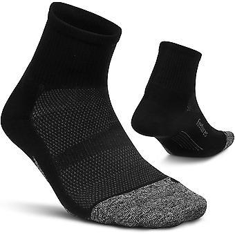 Feetures Elite Ultra Light Quarter Unisex Running Socks, Black - Small