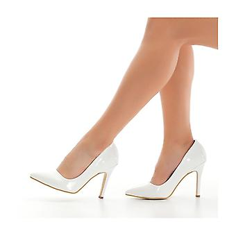 White Patent Leather Heeled Shoes Stiletto Ma-021