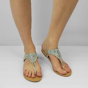Shumo Shea Ladies Elasticated Open Toe Sandals Gold