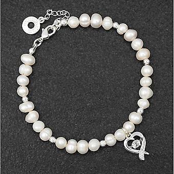 Bracciale charm per perline placcate in argento e perline d'acqua dolce