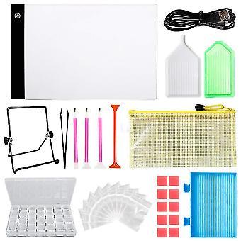Diy Diamond Painting Tools Diamond Storage Box Bags Dimmable A4 Led Lighted Diamond Painting Board Diamond Box Drill Pen Set (sac pour la couleur aléatoire)