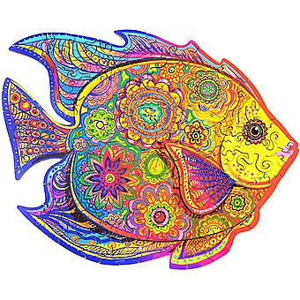 Wooden Puzzle Jigsaw, Best Gift For Adults And Kids, Unique Shape Jigsaw Pieces Shining Fish