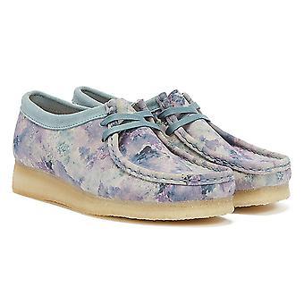 Clarks Wallabee Camo Womens Blue Shoes