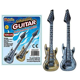 12 Inflatable Guitars - Gold and Silver - 106cm