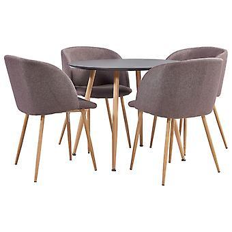 vidaXL 5 pcs. Dining group fabric Brown