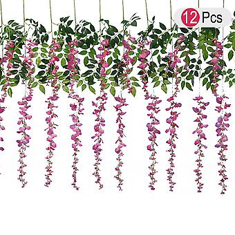 12pcs Artificial Silk Wisteria Ivy Vine Green Leaf Vine Garland Simulation Props For Party Wedding Home Decoration (pink)