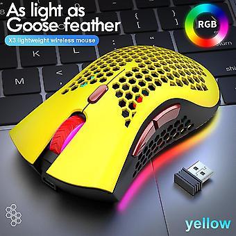 Spelmus 2400 DPI Honeycomb Shell 2,4 GHz trådlösa ergonomiska möss uppladdningsbara RGB lysande hål