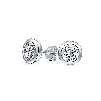 Minimalista Taglio Brillante Lunetta Solitario Rotondo Cubico Zirconia AAA CZ Martini Orecchini Borchie Sterling Argento 5 7 MM