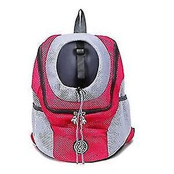 Outdoor Haustier Hund Tragetasche Fronttasche Doppel Schulter Tragbare Reise Rucksack Mesh Rucksack Kopf,