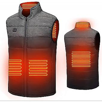 Grey m electric heated vest thermal gilet winter waistcoat warm jacket for outdoor activities lc1185