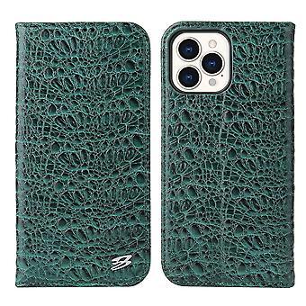 iPhone 13 Proケースクロコダイルパターン本物の牛財布レザーカバーグリーン用