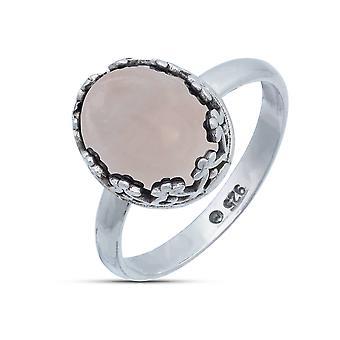 Ring Zilver 925 Sterling Silver Rose Quartz Pink Stone (Nr: MRI 185)