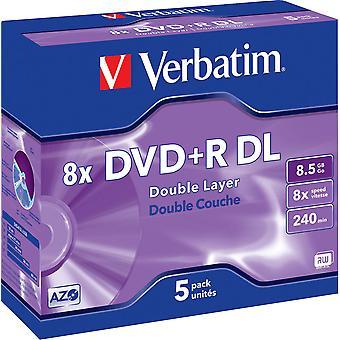 Verbatim DVD + R DL, 8 X, 8,5 GB/240 min., 5er-Pack Jewel-Case, AZO