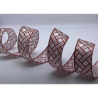 Juletrådkantet bånd 1,5 tommer bredt 10 meter - hvitt med rødkrysset glitter