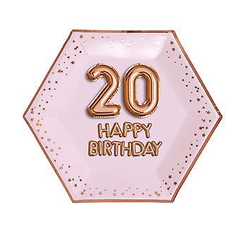 Glitz & Glamour Pink & Rose Gold Plate - Suuri - Ikä 20