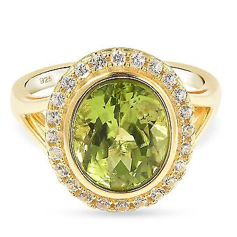 TJC Peridot Halo Ring Gold Plated Silver Anniversary Gift White Zircon 11ct(O)