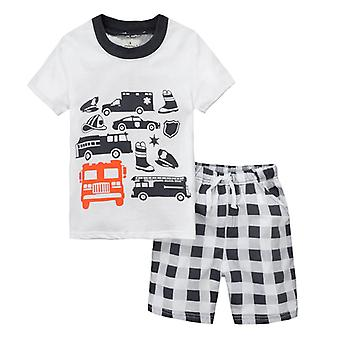 Kids Boy Short Sleeve Car T-shirt Top Plaid Shorts Set Summer Outfit