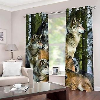 Sofirn Modern 3d Forest Animal Wolf Printed Curtain For Bedroom And Living Room Thermal Insulation And Blackout Curtain 140x160cm